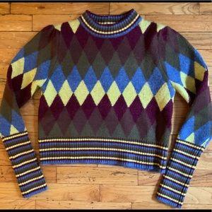 ZARA diamond pattern puff Slav sweater NWOT